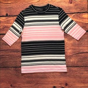 Topshop Color Block Striped Pink, White, Blue Top